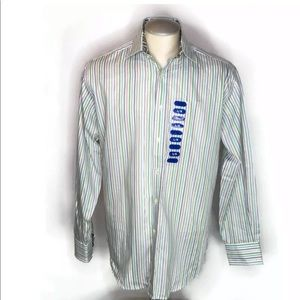 New Tailorbyrd Shirt L White Striped Flip Cuff